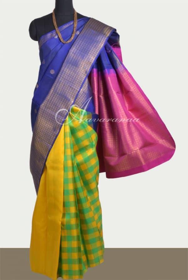 Colourful partly pallu kanchi silk saree-0