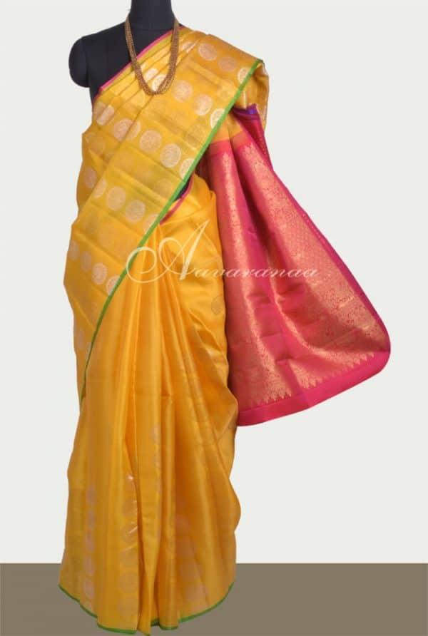 Yellow kanchipuram kora silk-0