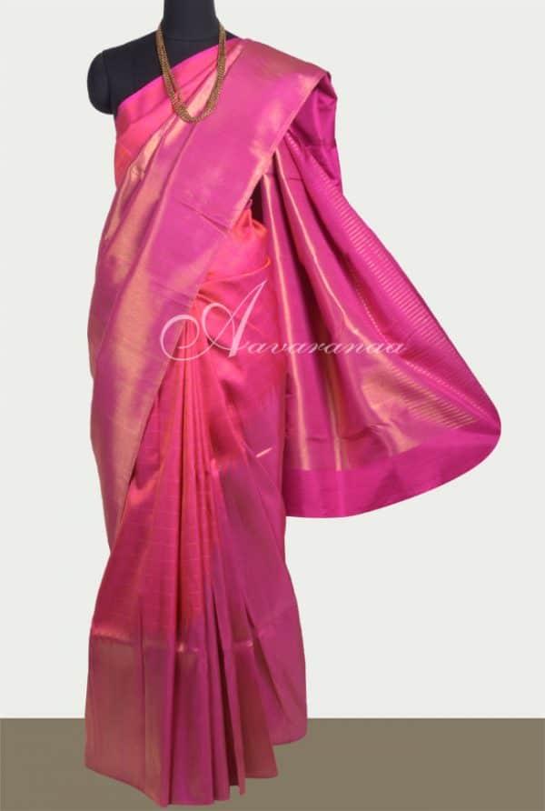 Pink kancipuram silk saree in raising pattern-0