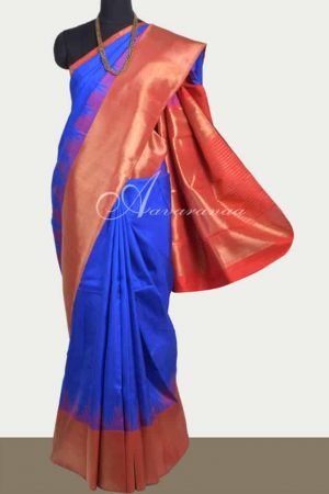 Royal Blue kanchipuram silk saree-0