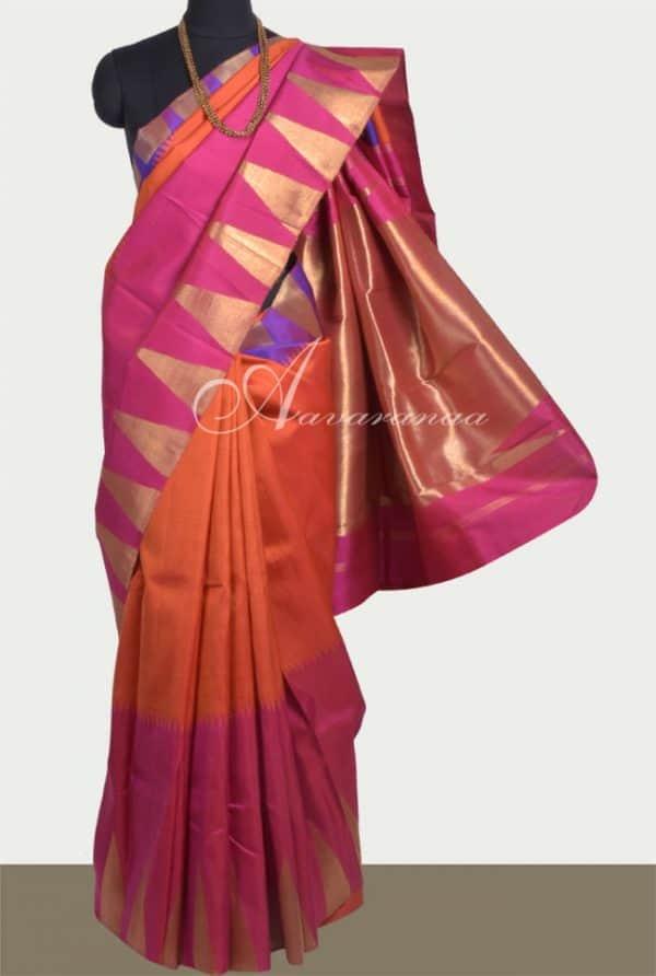 Burnt orange silk saree with ganga jamuna border-0