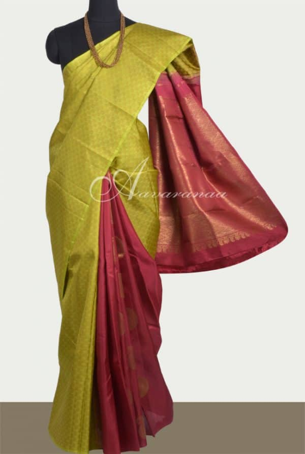 Lime green kanchi in partly pallu style-0
