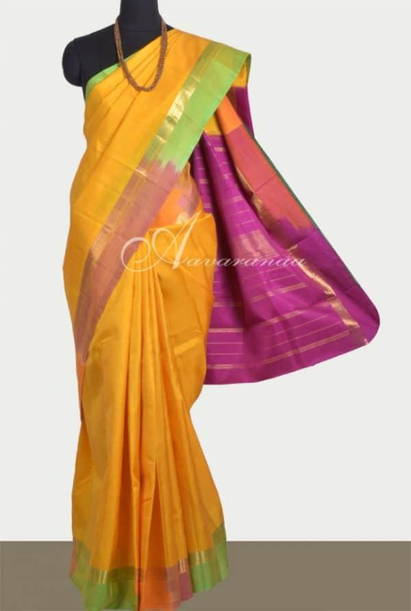 Pure kanchipuram silk saree in yellow-0