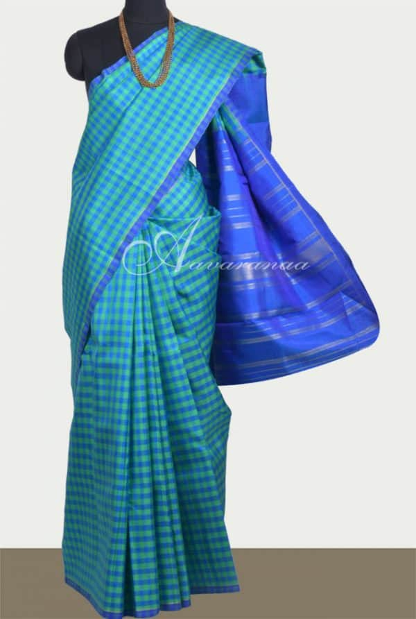 Kanchipuram silk saree in Green and blue checks -0