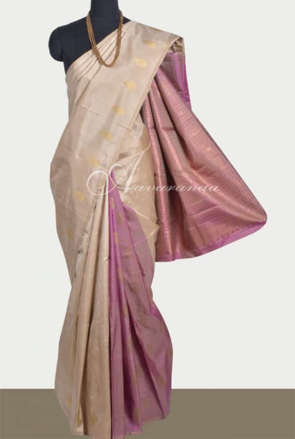 Beige with mauve partly pallu kanchi silk saree-0