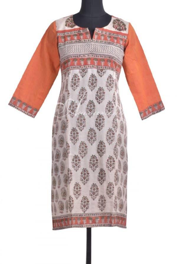Beige cotton kurta with multi yoke-0