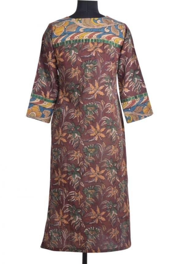 Brown cotton kurta with silk yoke-12842