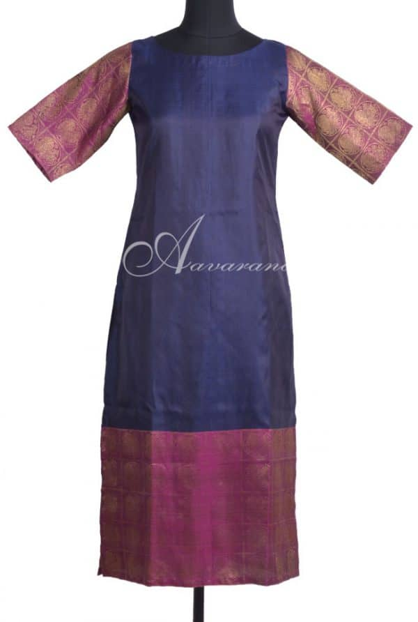 Navy blue kanchi silk kurta-0