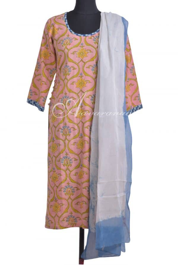 Peach kurta with kota dupatta-0