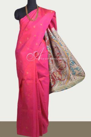 Bright pink silk kalamkari saree-0
