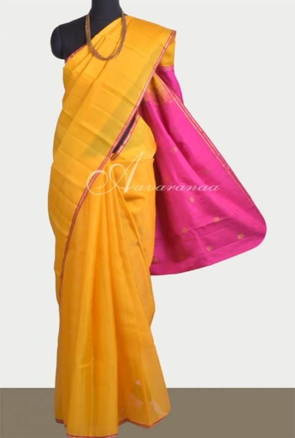 Yellow kora kancheepuram silk saree-0
