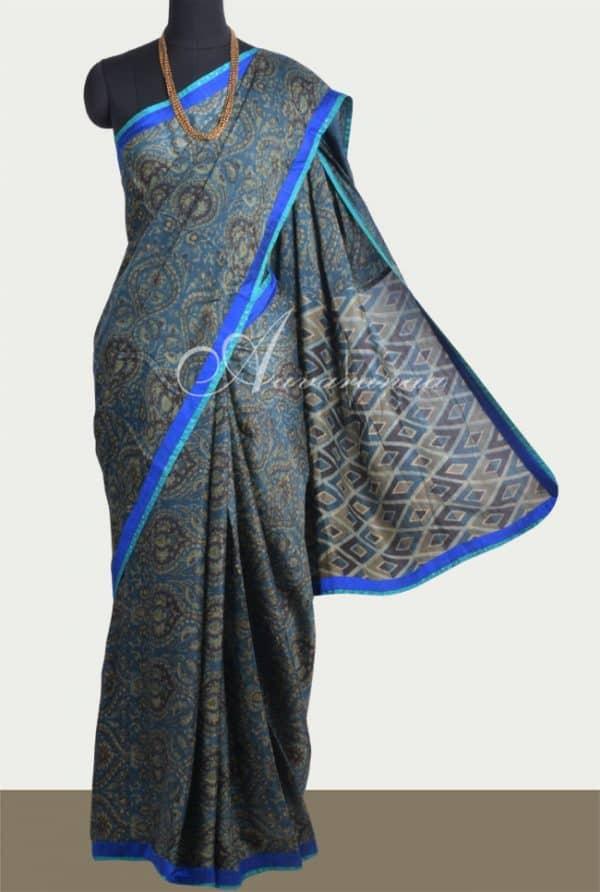 Blue ajrakh silk saree-0