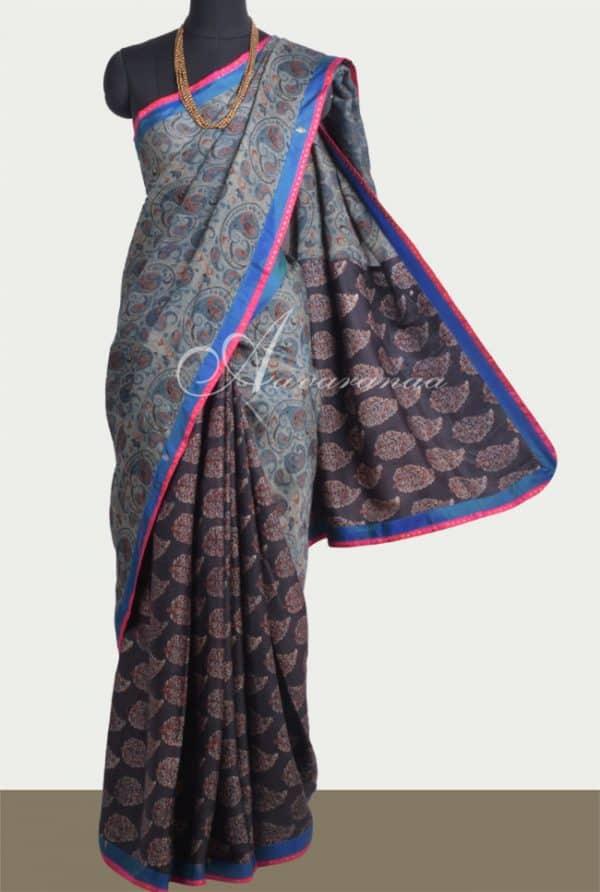 Blue black ajrakh partly pallu silk saree-0