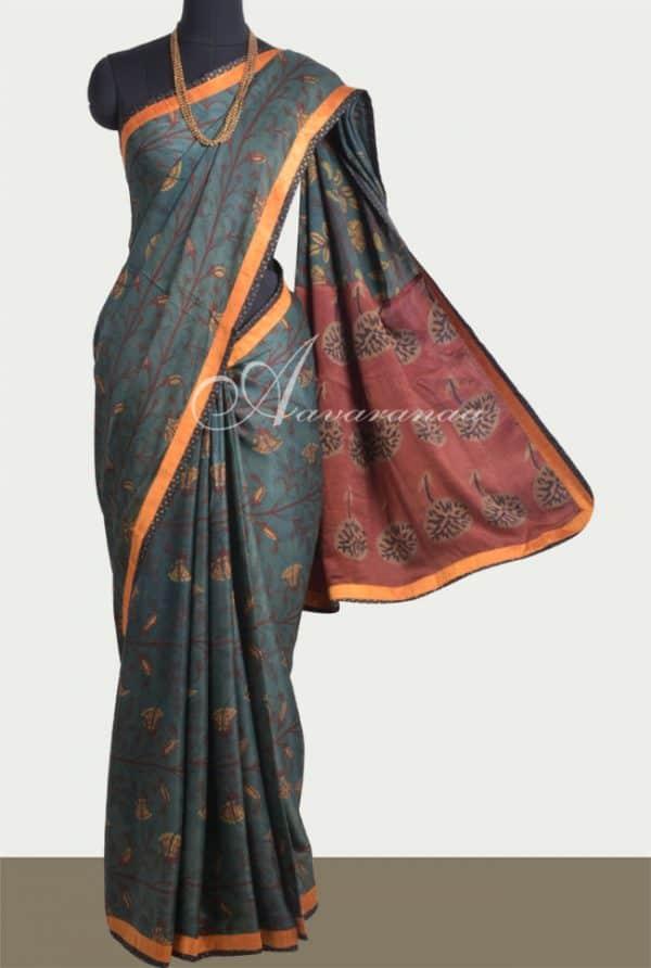 Dark green ajrakh silk saree-0