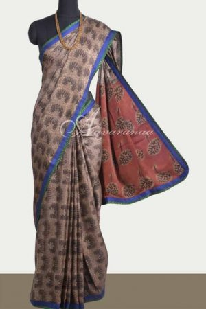 Brown ajrakh silk saree-0