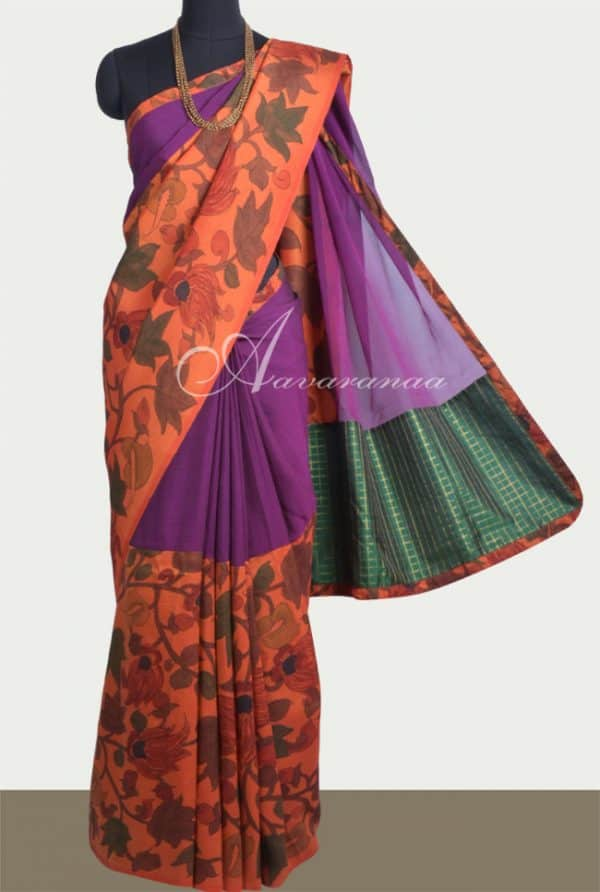 Violet orange chiffon kalamkari fusion saree-0