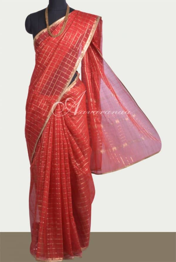 Red kota zari checks saree-0