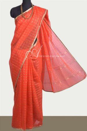 Orange kota zari checks saree-0