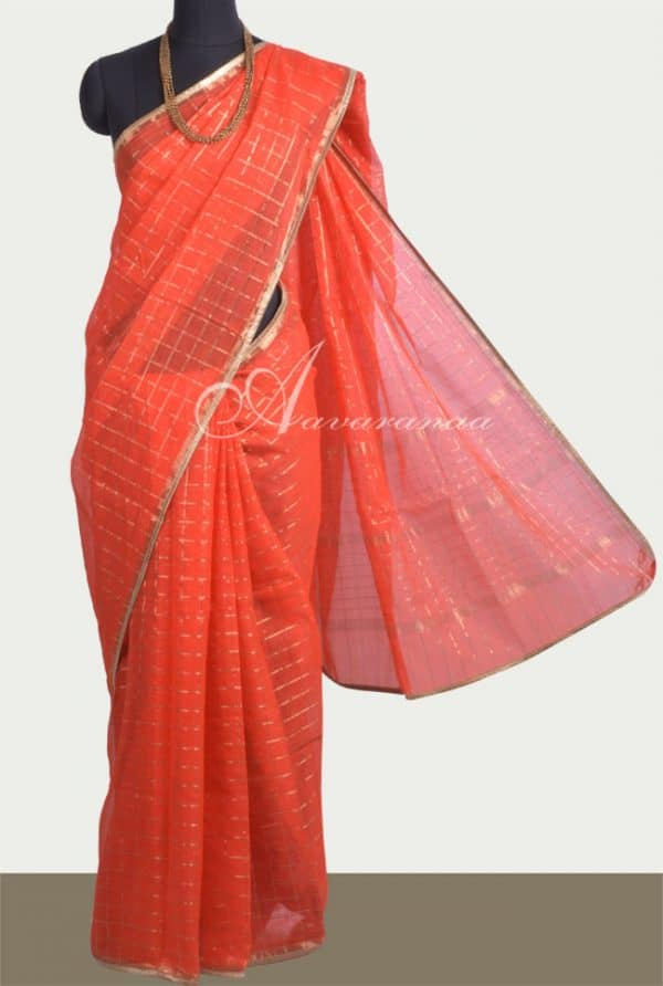 Orange kota zari checks saree-0
