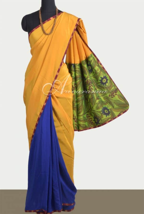Yellow blue crepe saree-0