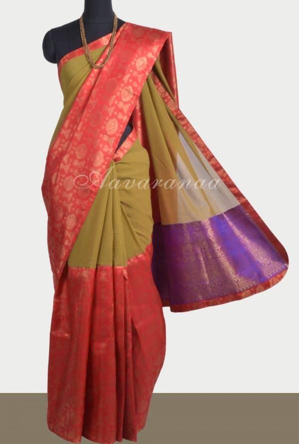 Mehendi green chiffon red kanchi silk fusion saree-0