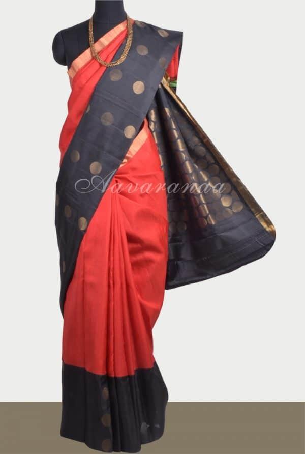 Red black polka soft silk saree-0