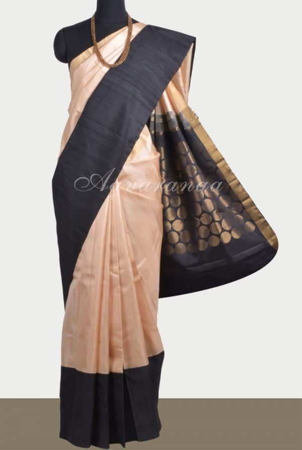 Beige black polka soft silk saree-0