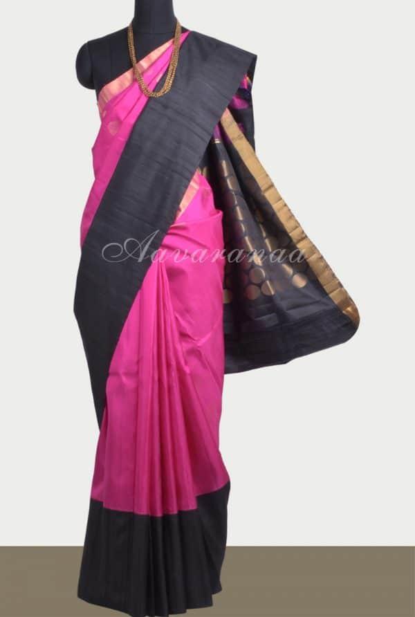 Pink black polka soft silk saree-0