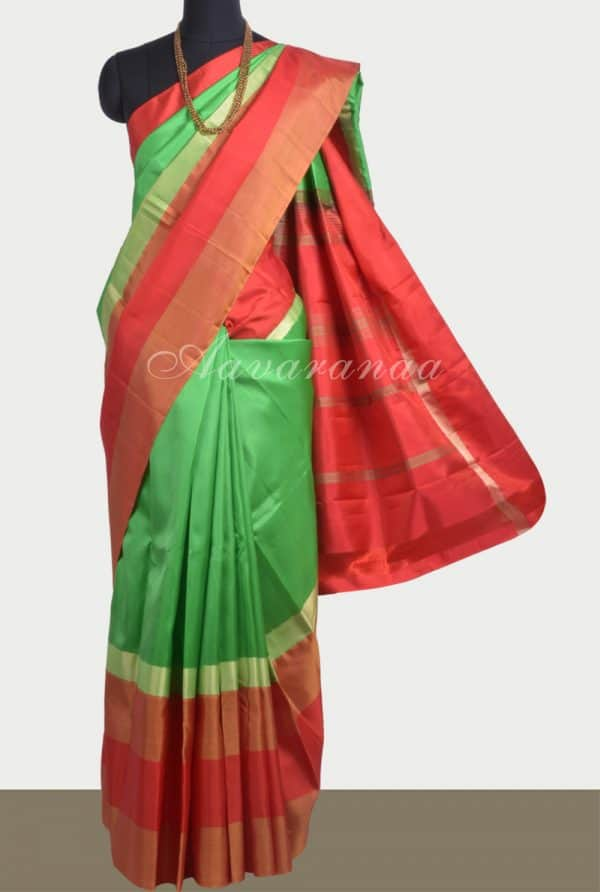 Apple green soft silk saree with red border-0
