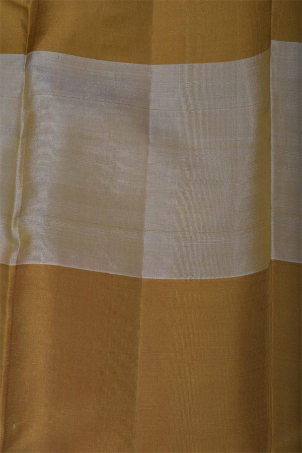Orange soft silk saree with khakhi border-12902