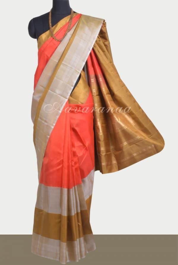 Orange soft silk saree with khakhi border-0
