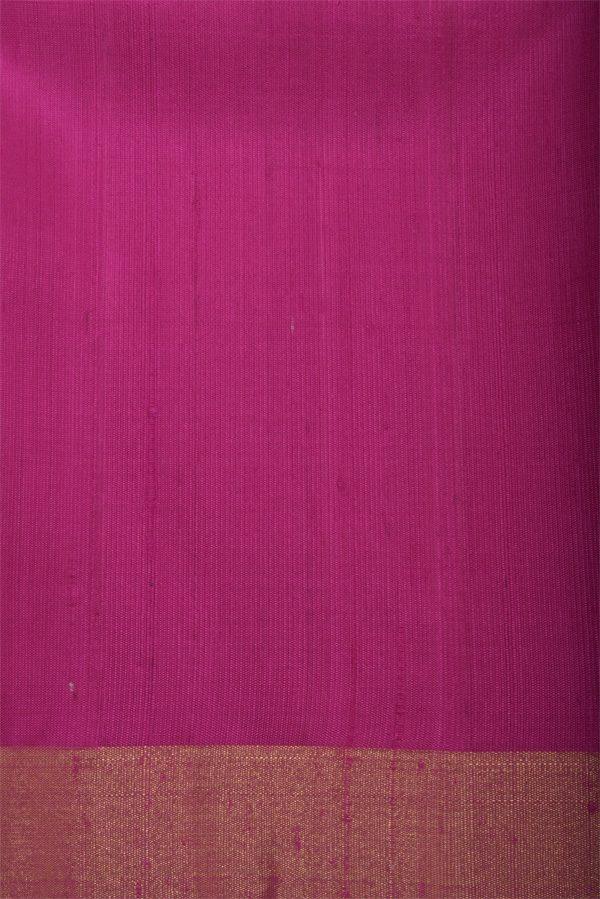 Golden yellow silk saree with pink border-12906