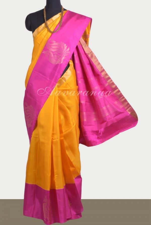 Golden yellow silk saree with pink border-0