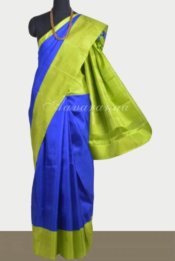 Plain blue silk saree with green border-0