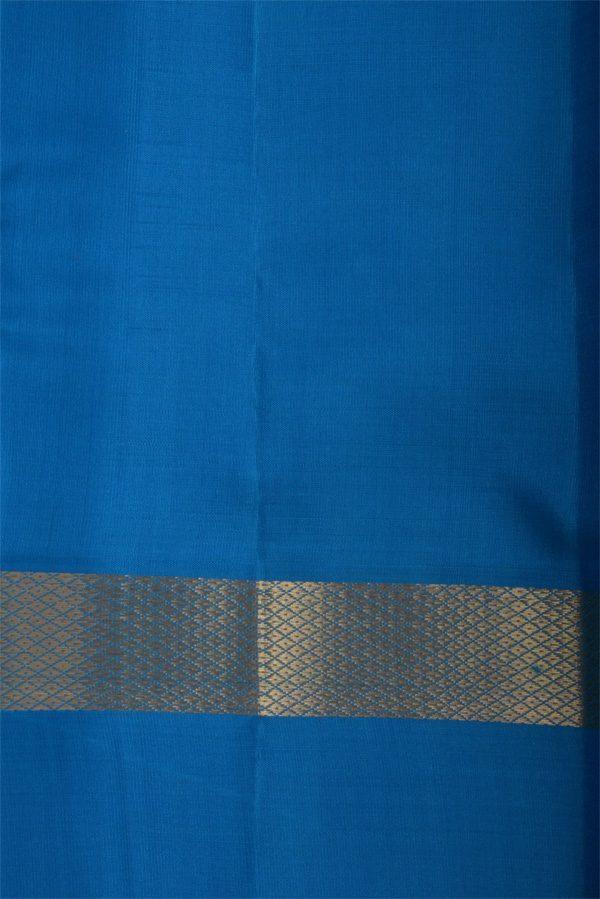 Plain pink silk saree with blue border-12914