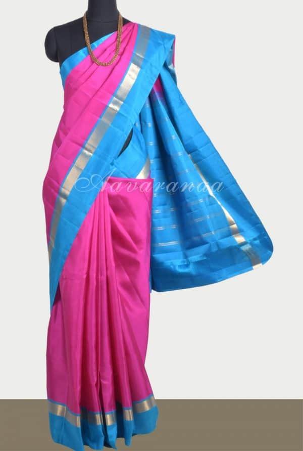 Plain pink silk saree with blue border-0