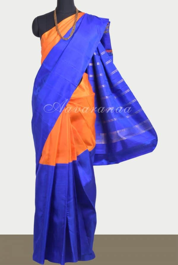 Orange royal blue plain soft silk saree-0