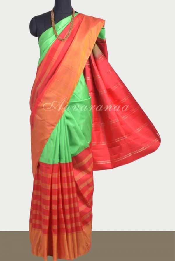 Apple green red half and half soft silk saree-0