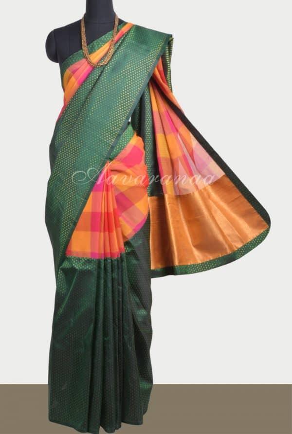 Pink checks chiffon green silk fusion saree-0