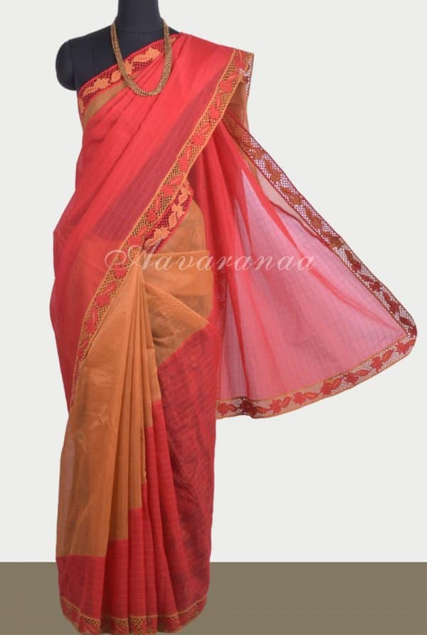 Red and burnt orange semi organza cutwork saree-0