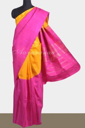 Yellow pink half and half soft silk saree-0