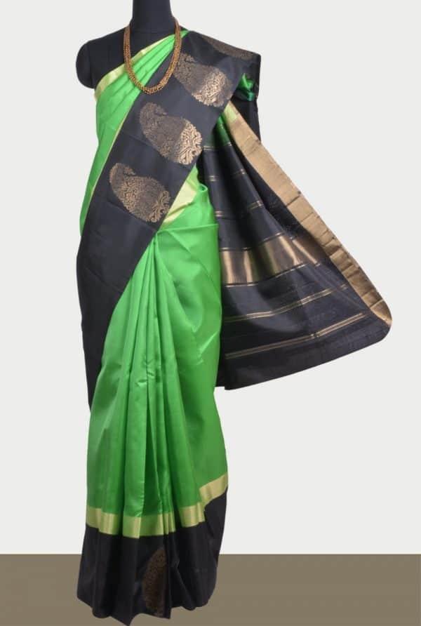 Green soft silk saree with black border-0