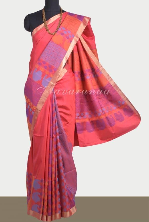 Peach soft silk saree with thread weaving-0