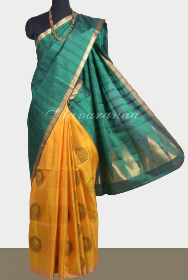 Green yellow partly pallu soft silk saree-0