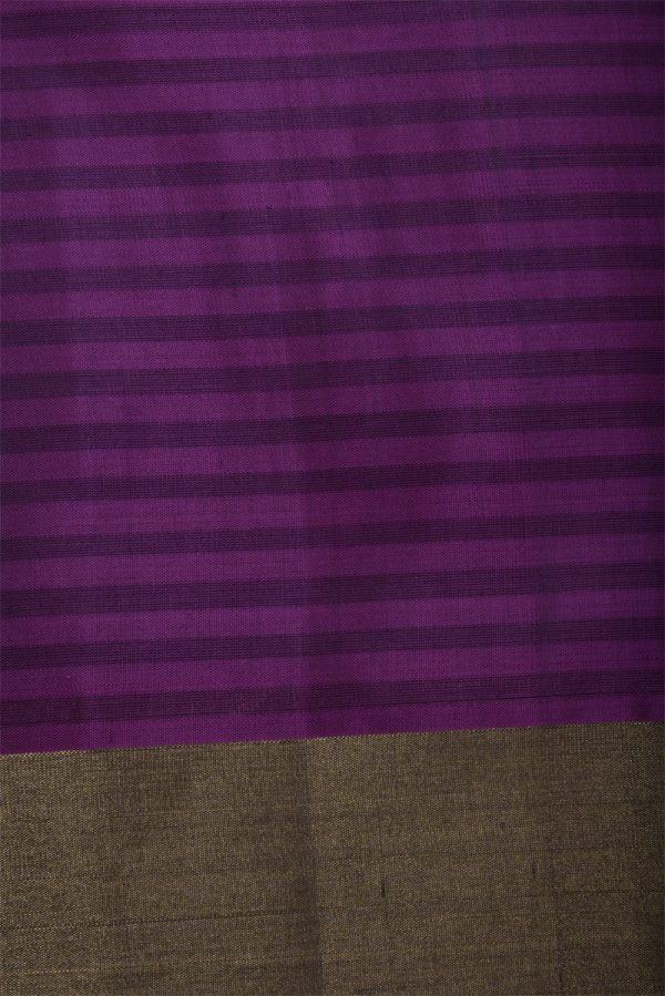 Grey purple long border soft silk saree-13018