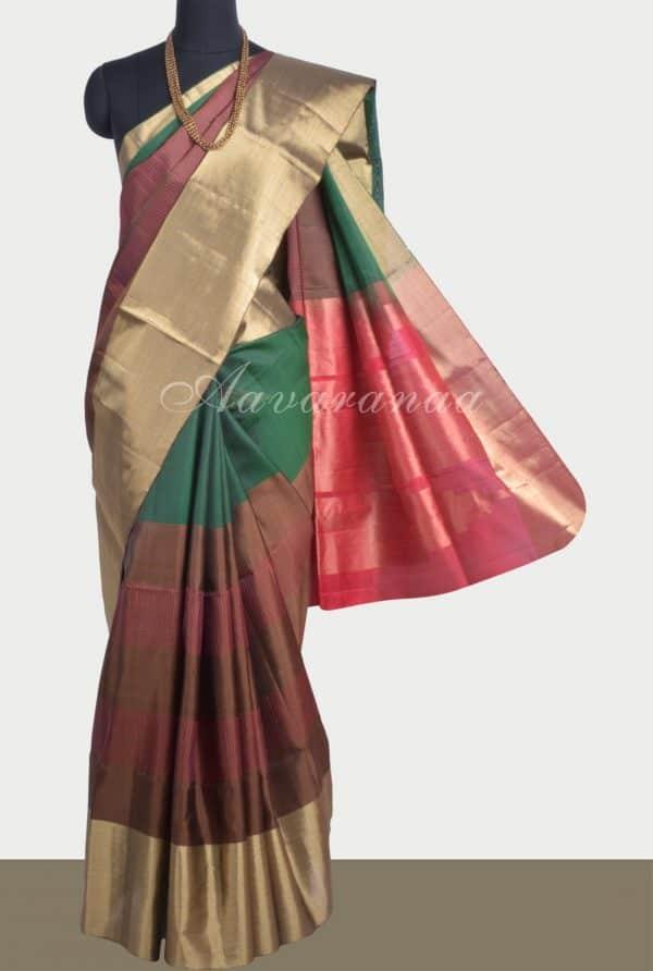 Green with multicolour half soft silk saree-0