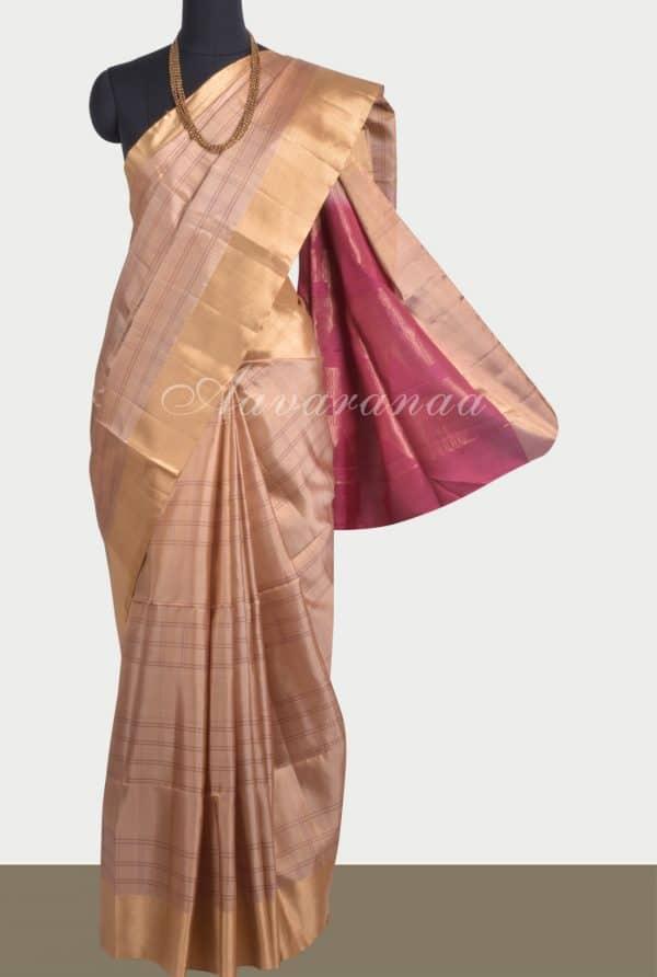 Beige stripes soft silk saree-0
