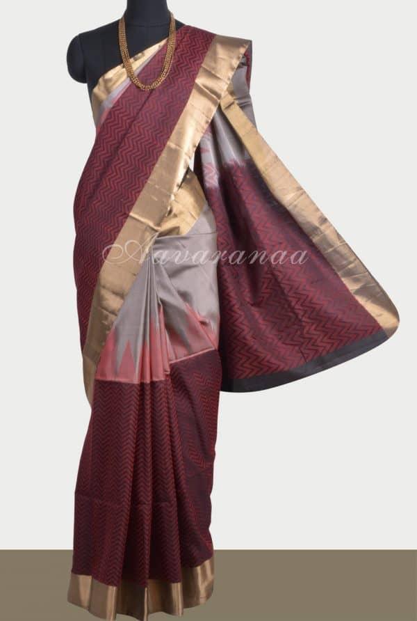 Grey black and red soft silk saree-0