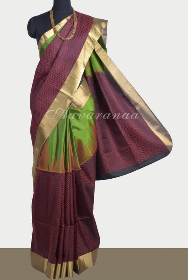 Green black and red soft silk saree-0