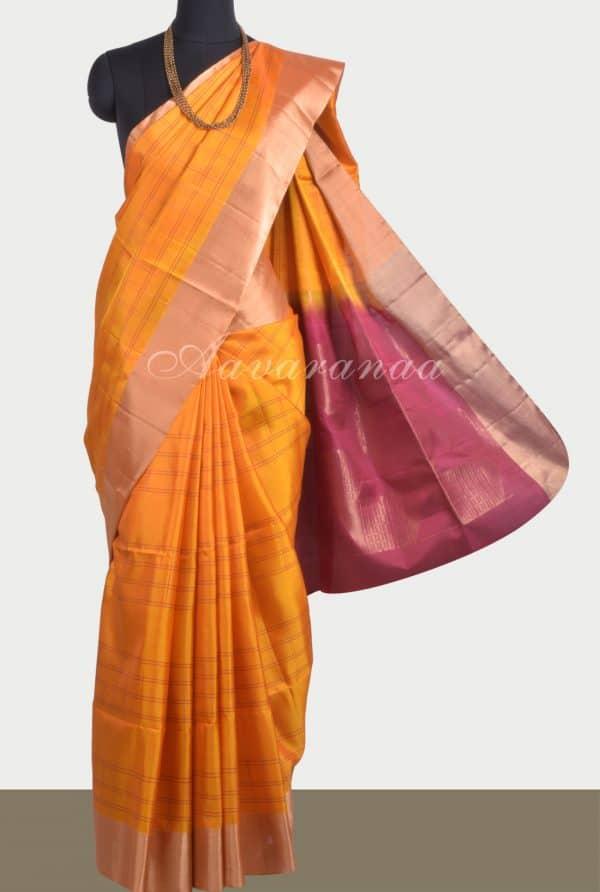 Mango yellow soft silk saree-0